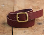 Vegetable Tanned Burgundy Belt w/ Brass Buckle