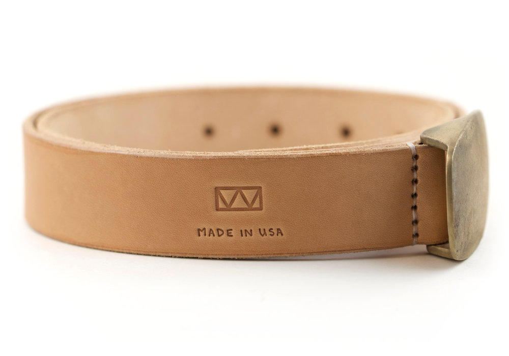 Vegetable Tanned Leather Belt with Bronze Belt Buckle