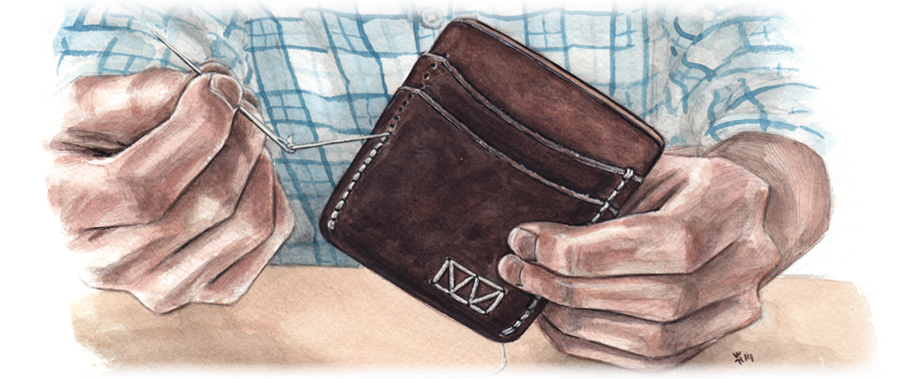 Illustration of a Saddle-stitched Leather Wallet