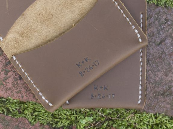 Monogrammed Initials & Date on Wallets for Wedding