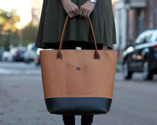 Large Hand-stitched Leather Tote with Exterior Pocket