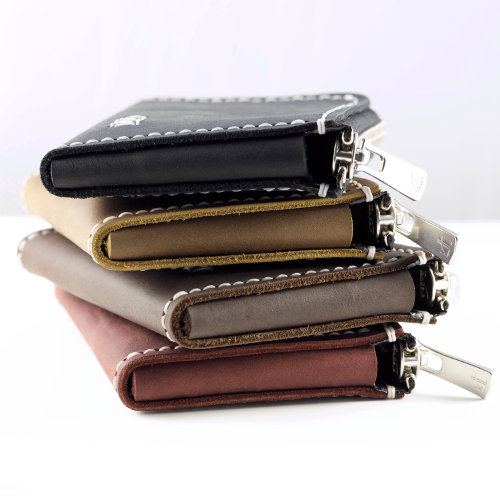 Minimalist Leather Zip Wallet