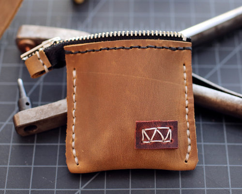 Leather Ring Bearer Zip Pouch