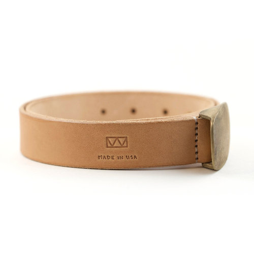 Handcrafted Vegetable Tanned Belt with Bronze Buckle